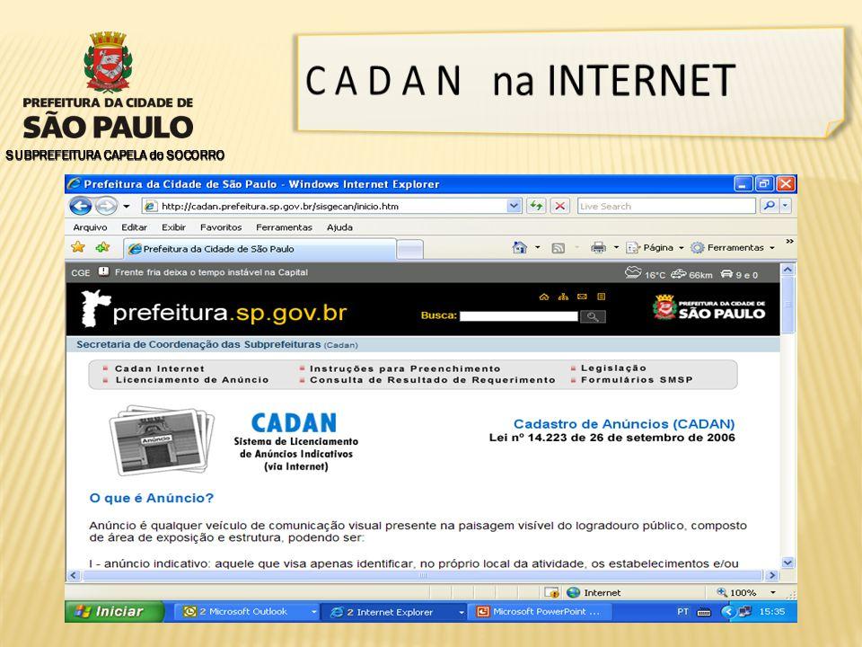 C A D A N na INTERNET SUBPREFEITURA CAPELA do SOCORRO