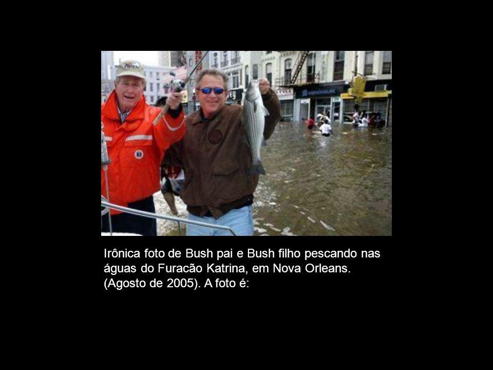 FALSA. Irônica foto de Bush pai e Bush filho pescando nas