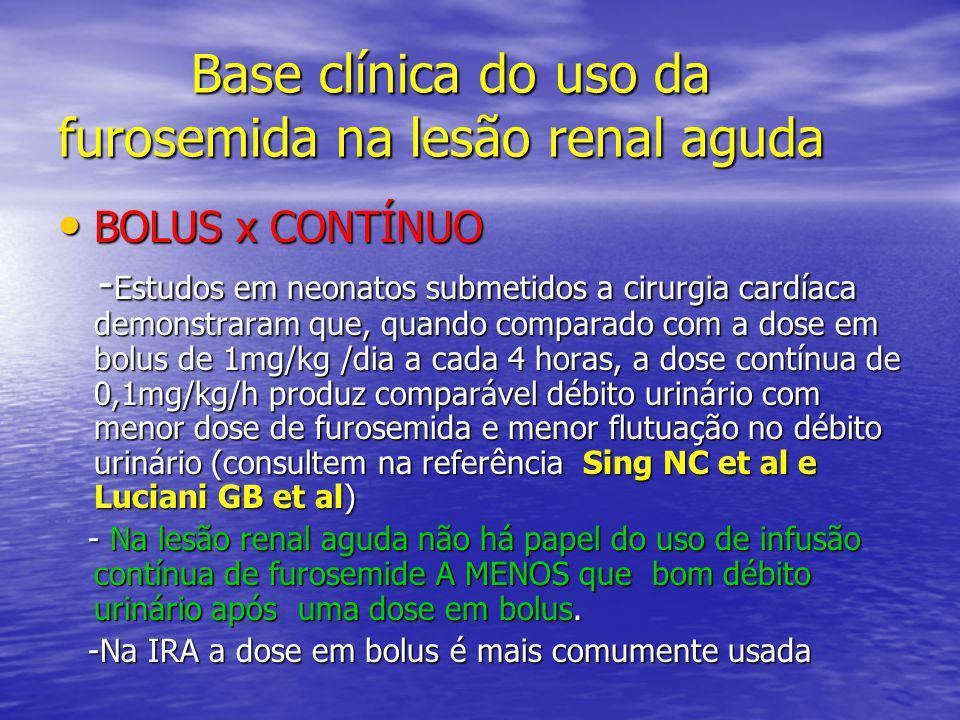 Base clínica do uso da furosemida na lesão renal aguda