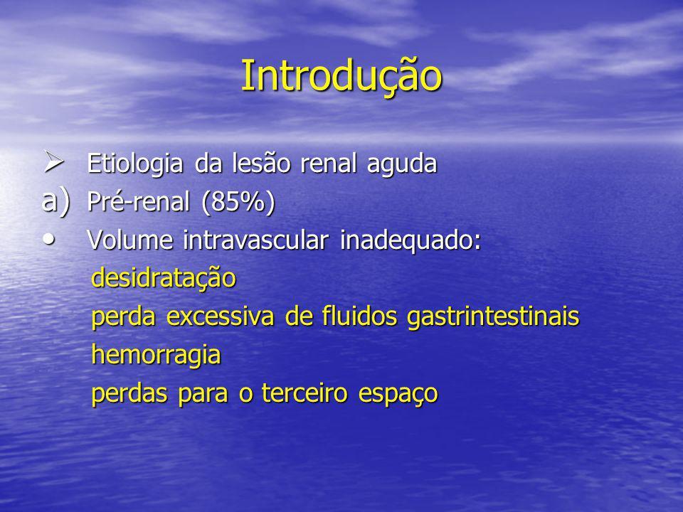 Introdução Etiologia da lesão renal aguda Pré-renal (85%)