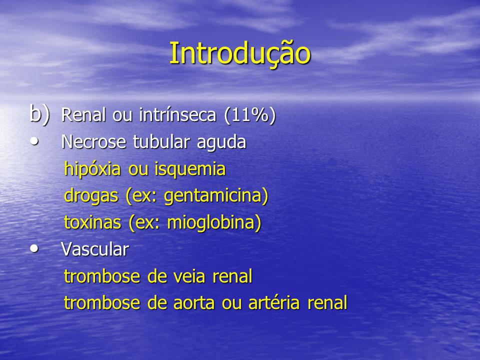 Introdução Renal ou intrínseca (11%) Necrose tubular aguda