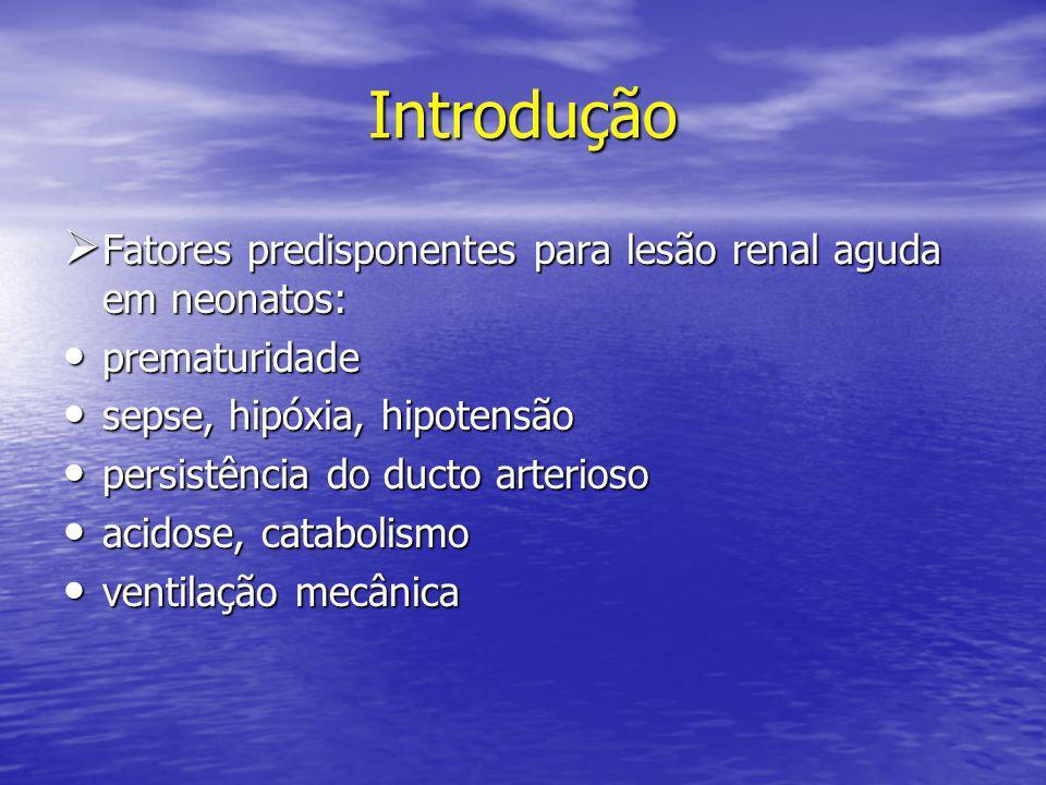 Introdução Fatores predisponentes para lesão renal aguda em neonatos: