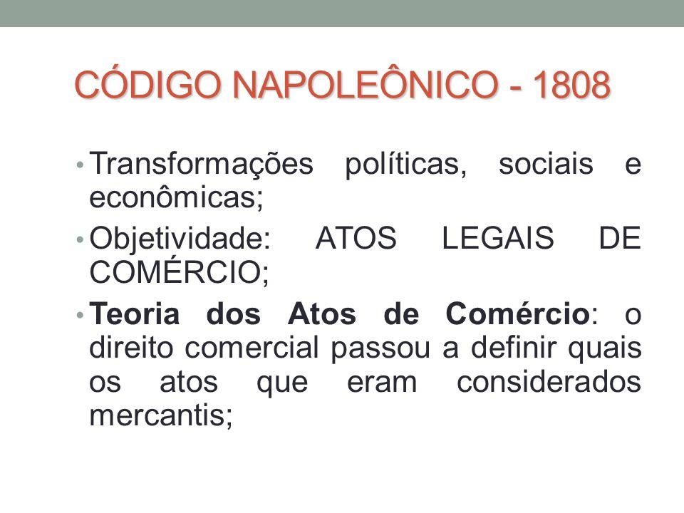 CÓDIGO NAPOLEÔNICO - 1808 Transformações políticas, sociais e econômicas; Objetividade: ATOS LEGAIS DE COMÉRCIO;