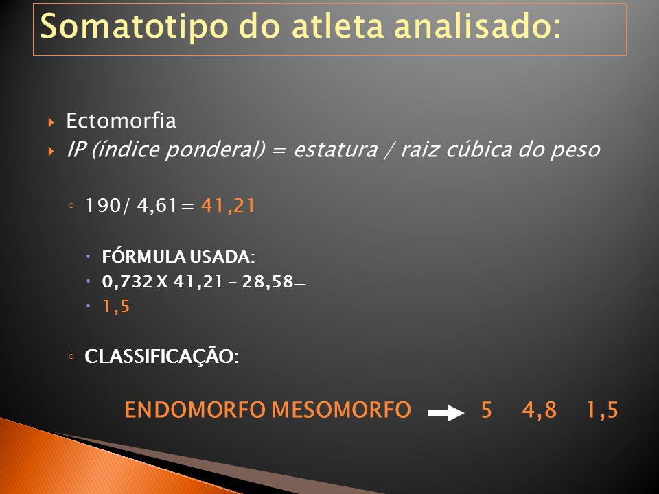 Somatotipo do atleta analisado: