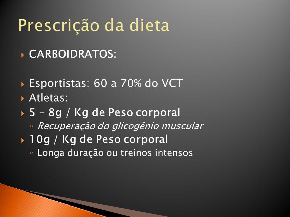 Prescrição da dieta CARBOIDRATOS: Esportistas: 60 a 70% do VCT