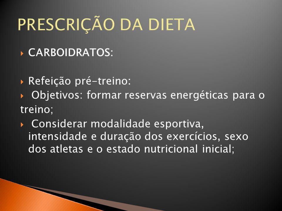 PRESCRIÇÃO DA DIETA CARBOIDRATOS: Refeição pré-treino:
