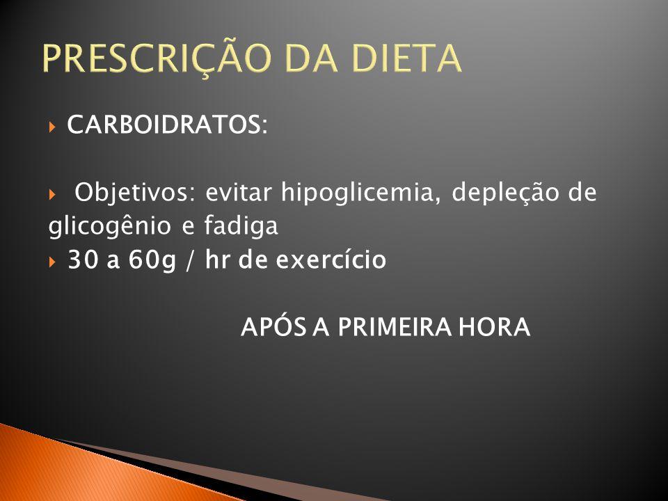 PRESCRIÇÃO DA DIETA CARBOIDRATOS: