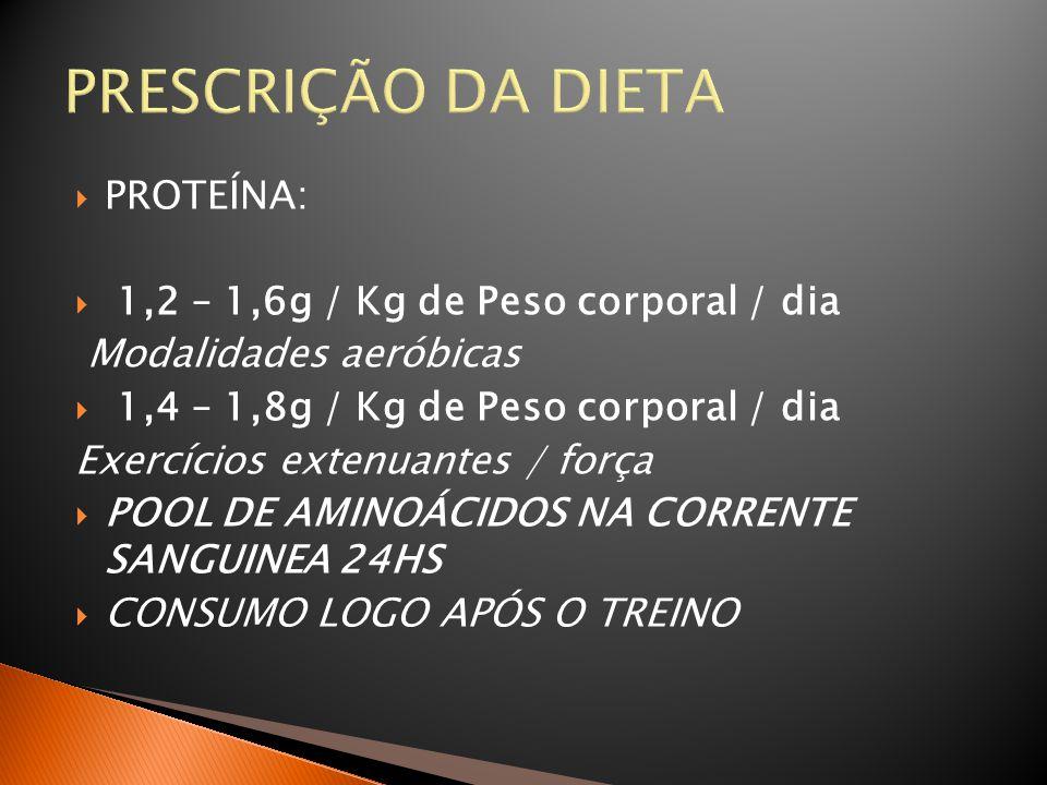 PRESCRIÇÃO DA DIETA PROTEÍNA: 1,2 – 1,6g / Kg de Peso corporal / dia