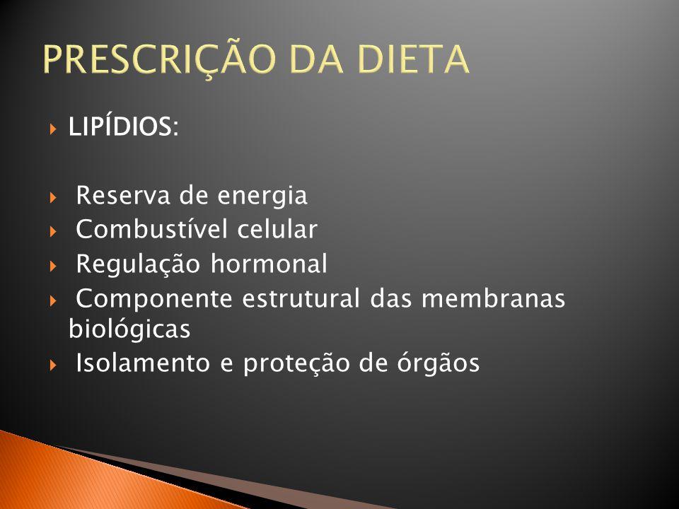 PRESCRIÇÃO DA DIETA LIPÍDIOS: Reserva de energia Combustível celular