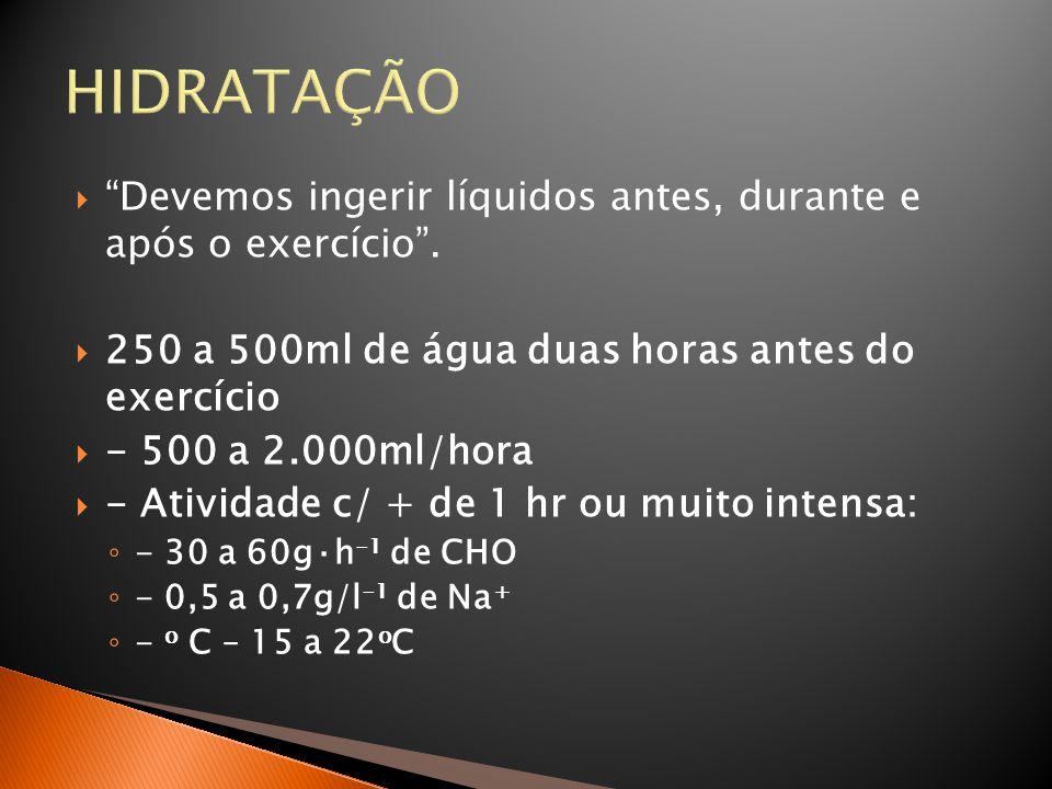 HIDRATAÇÃO Devemos ingerir líquidos antes, durante e após o exercício . 250 a 500ml de água duas horas antes do exercício.