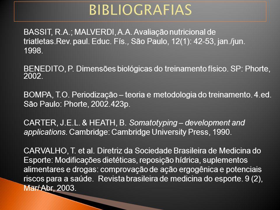 BIBLIOGRAFIAS BASSIT, R.A.; MALVERDI, A.A. Avaliação nutricional de