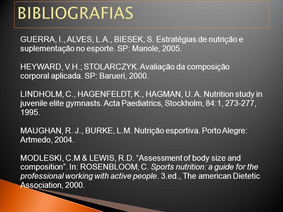 BIBLIOGRAFIAS GUERRA, I., ALVES, L.A., BIESEK, S. Estratégias de nutrição e. suplementação no esporte. SP: Manole, 2005.