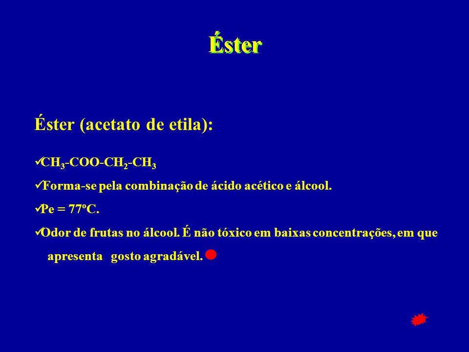 Éster Éster (acetato de etila): CH3-COO-CH2-CH3