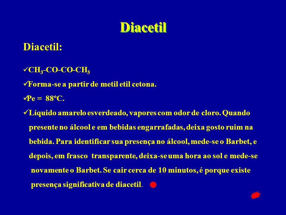Diacetil Diacetil: Forma-se a partir de metil etil cetona. Pe = 88ºC.
