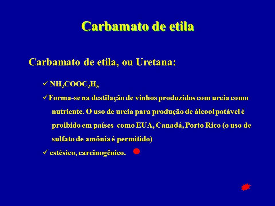 Carbamato de etila Carbamato de etila, ou Uretana: NH2COOC2H5
