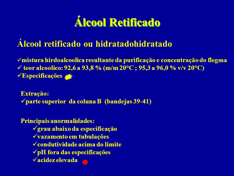Álcool Retificado Álcool retificado ou hidratadohidratado