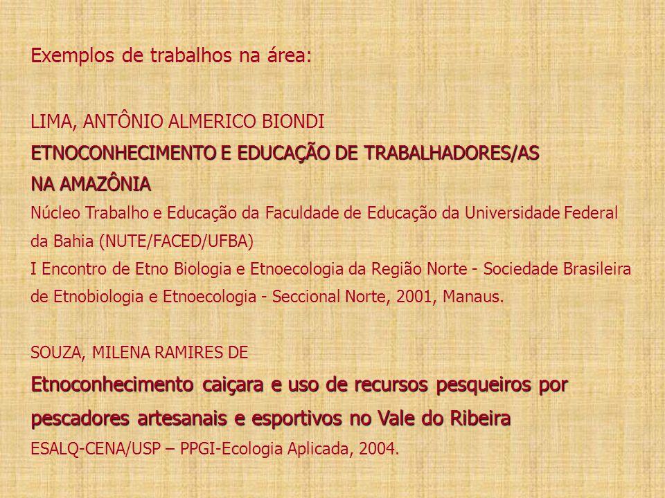 Exemplos de trabalhos na área: LIMA, ANTÔNIO ALMERICO BIONDI ETNOCONHECIMENTO E EDUCAÇÃO DE TRABALHADORES/AS NA AMAZÔNIA Núcleo Trabalho e Educação da Faculdade de Educação da Universidade Federal da Bahia (NUTE/FACED/UFBA) I Encontro de Etno Biologia e Etnoecologia da Região Norte - Sociedade Brasileira de Etnobiologia e Etnoecologia - Seccional Norte, 2001, Manaus.