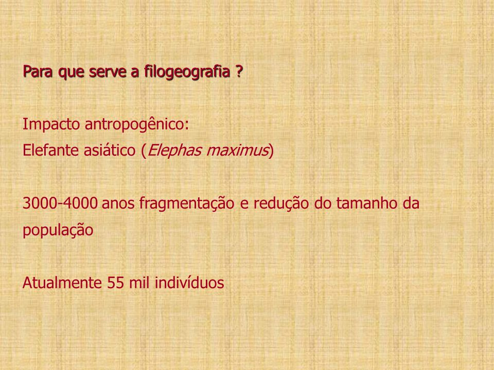 Para que serve a filogeografia