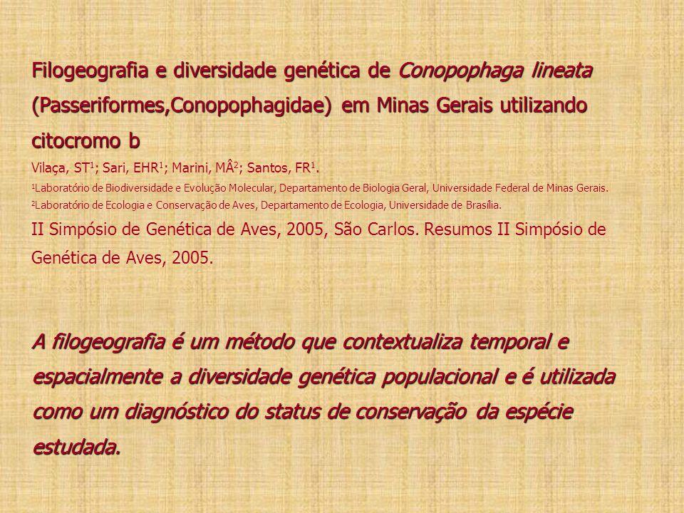 Filogeografia e diversidade genética de Conopophaga lineata (Passeriformes,Conopophagidae) em Minas Gerais utilizando citocromo b Vilaça, ST1; Sari, EHR1; Marini, MÂ2; Santos, FR1.