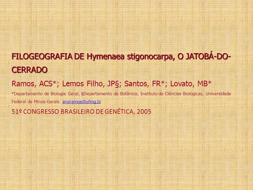 FILOGEOGRAFIA DE Hymenaea stigonocarpa, O JATOBÁ-DO-CERRADO Ramos, ACS