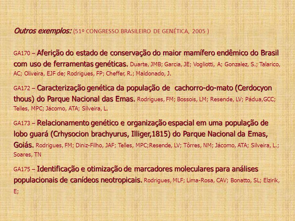 Outros exemplos: (51º CONGRESSO BRASILEIRO DE GENÉTICA, 2005 ) GA170 – Aferição do estado de conservação do maior mamífero endêmico do Brasil com uso de ferramentas genéticas.