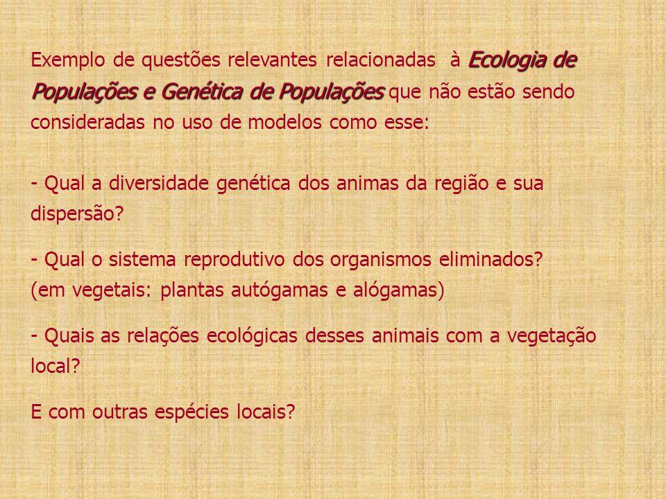 Exemplo de questões relevantes relacionadas à Ecologia de Populações e Genética de Populações que não estão sendo consideradas no uso de modelos como esse: - Qual a diversidade genética dos animas da região e sua dispersão.