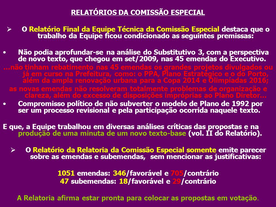 RELATÓRIOS DA COMISSÃO ESPECIAL