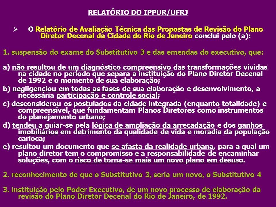 RELATÓRIO DO IPPUR/UFRJ
