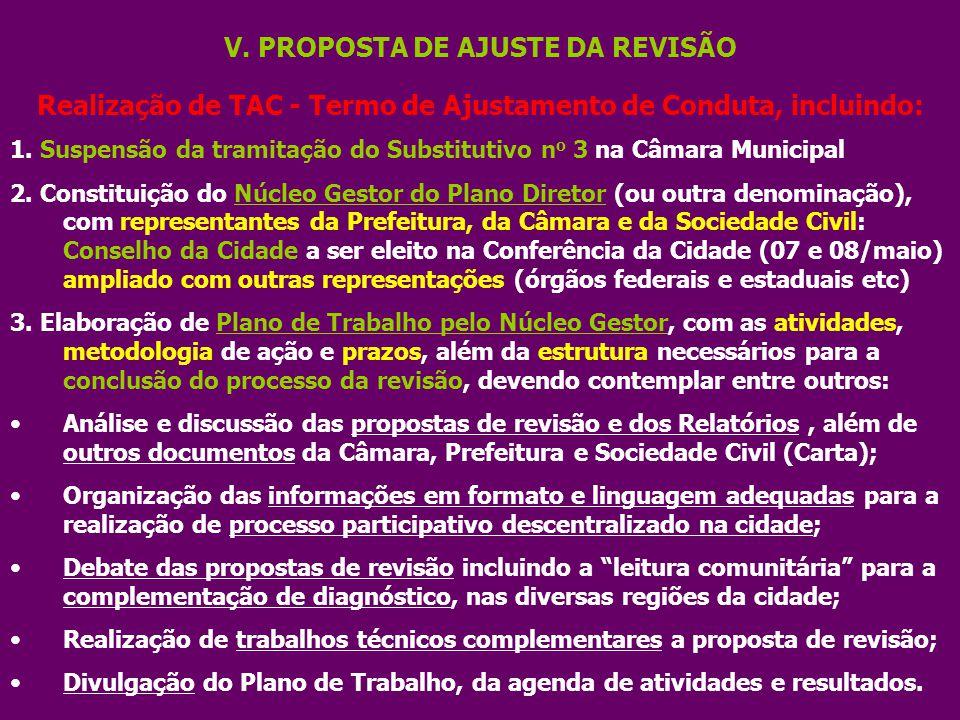 V. PROPOSTA DE AJUSTE DA REVISÃO