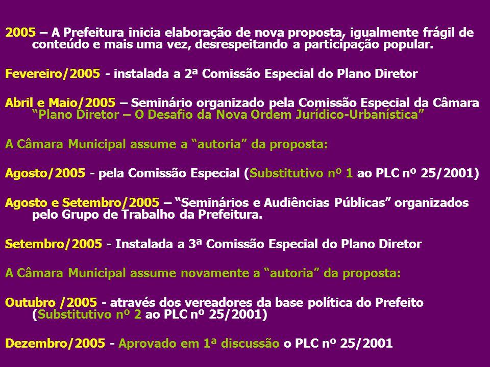 Fevereiro/2005 - instalada a 2ª Comissão Especial do Plano Diretor