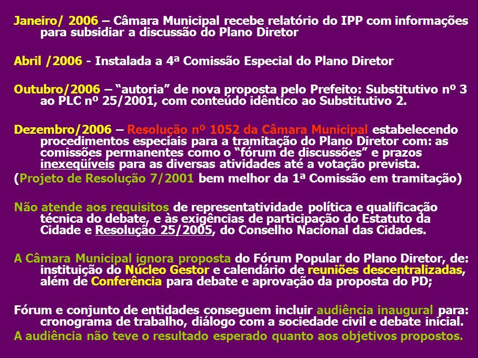 Abril /2006 - Instalada a 4ª Comissão Especial do Plano Diretor