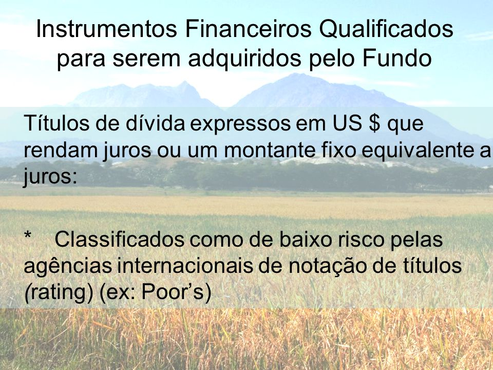 Instrumentos Financeiros Qualificados para serem adquiridos pelo Fundo