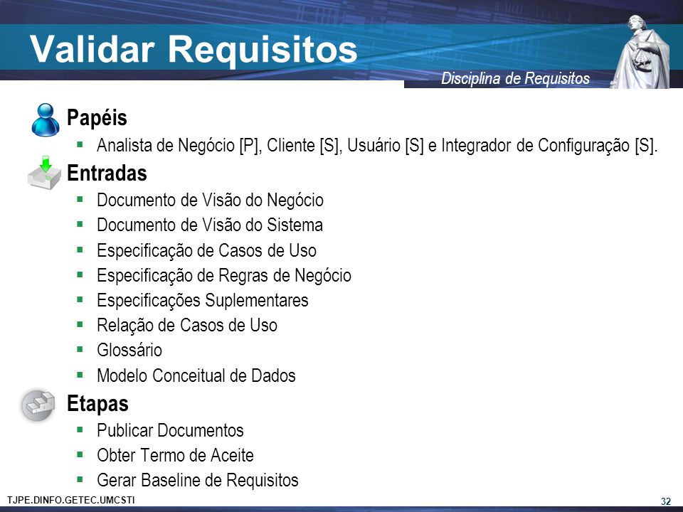 Validar Requisitos Papéis Entradas Etapas