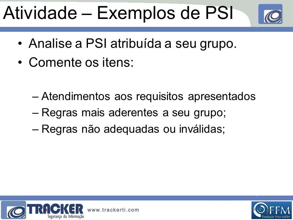 Atividade – Exemplos de PSI