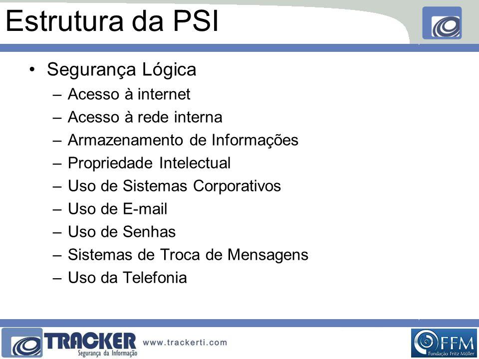 Estrutura da PSI Segurança Lógica Acesso à internet