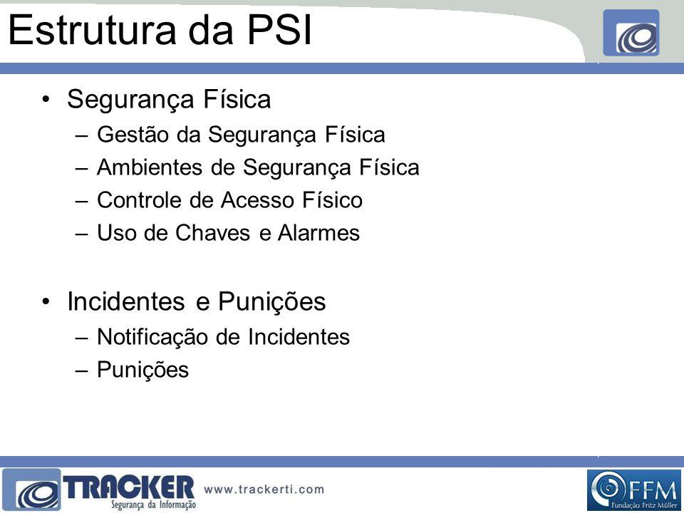 Estrutura da PSI Segurança Física Incidentes e Punições