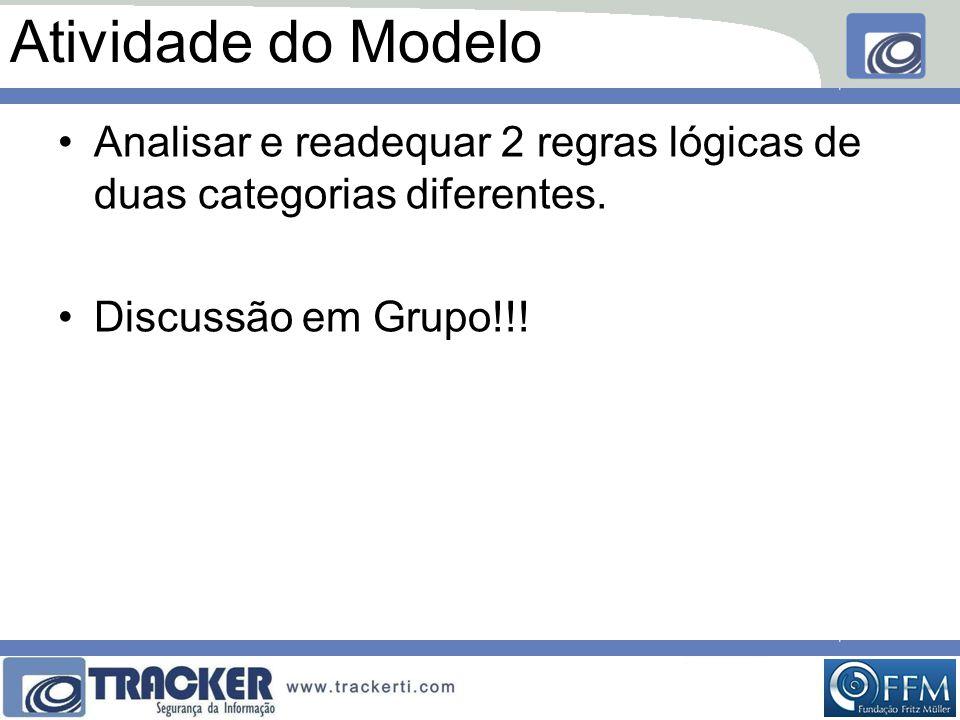 Atividade do Modelo Analisar e readequar 2 regras lógicas de duas categorias diferentes.