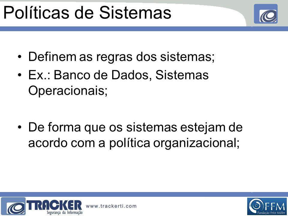 Políticas de Sistemas Definem as regras dos sistemas;