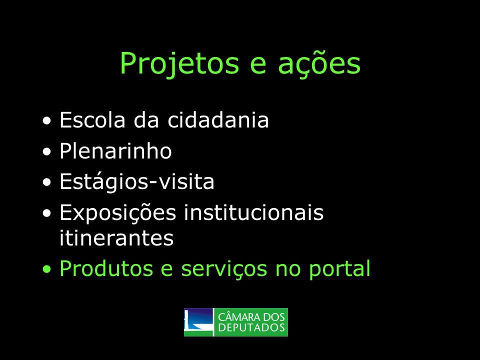 Projetos e ações Escola da cidadania Plenarinho Estágios-visita