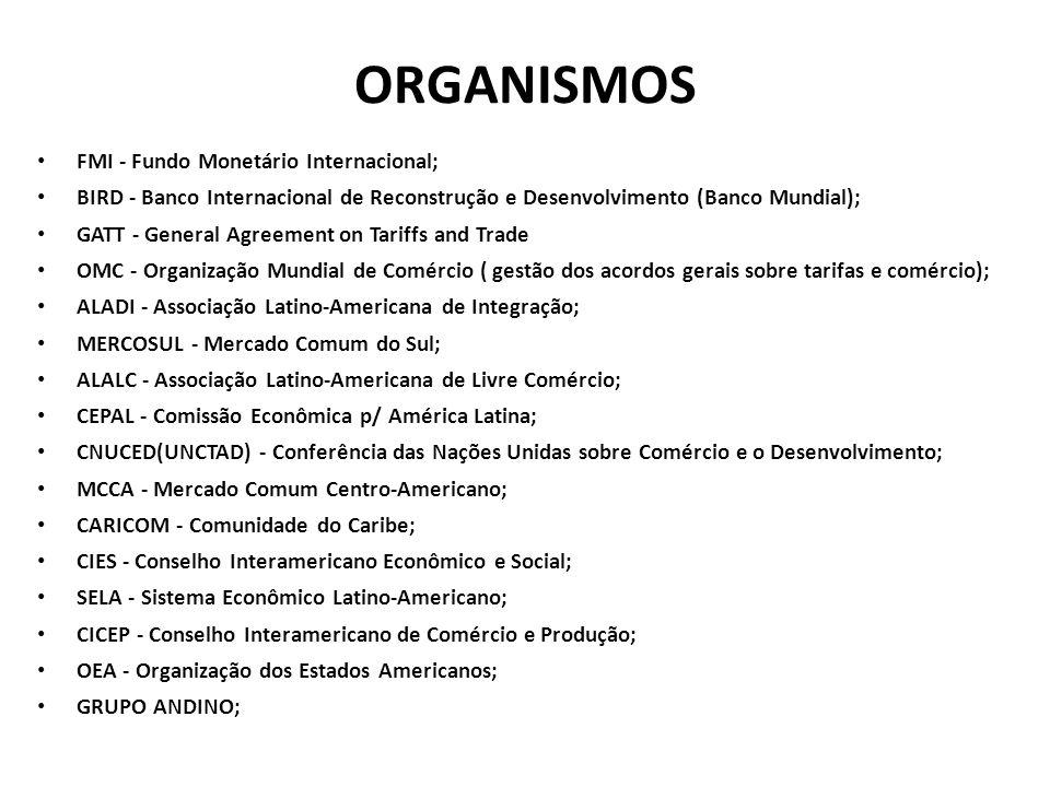 ORGANISMOS FMI - Fundo Monetário Internacional;