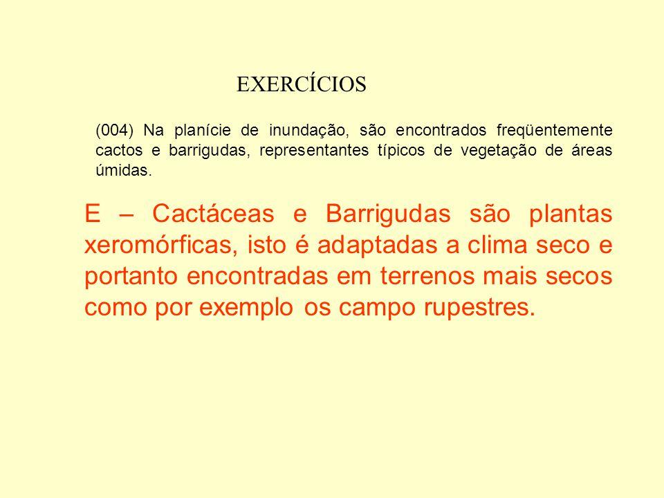 EXERCÍCIOS (004) Na planície de inundação, são encontrados freqüentemente cactos e barrigudas, representantes típicos de vegetação de áreas úmidas.
