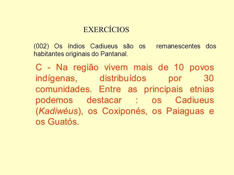EXERCÍCIOS (002) Os índios Cadiueus são os remanescentes dos habitantes originais do Pantanal.