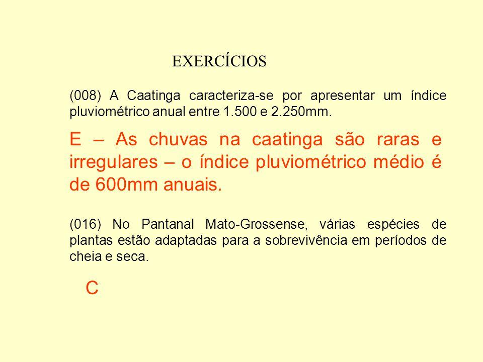 EXERCÍCIOS (008) A Caatinga caracteriza-se por apresentar um índice pluviométrico anual entre 1.500 e 2.250mm.
