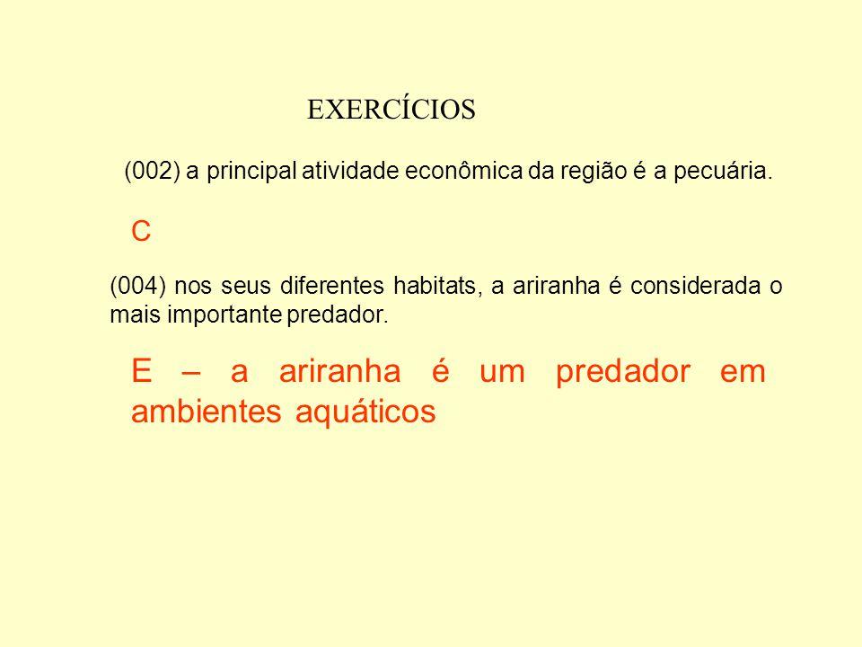 E – a ariranha é um predador em ambientes aquáticos