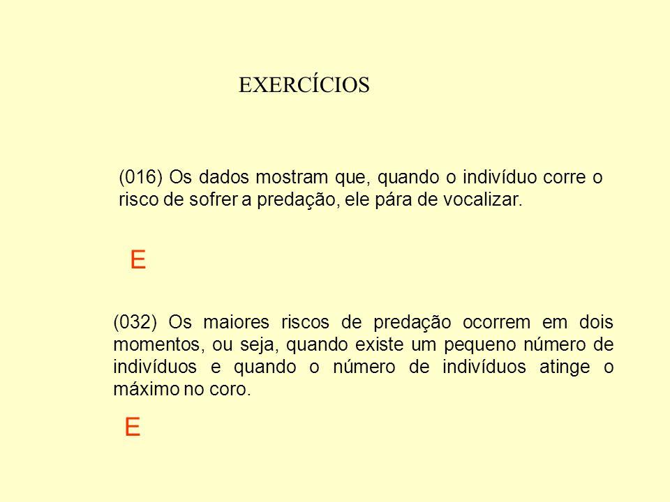 EXERCÍCIOS (016) Os dados mostram que, quando o indivíduo corre o risco de sofrer a predação, ele pára de vocalizar.