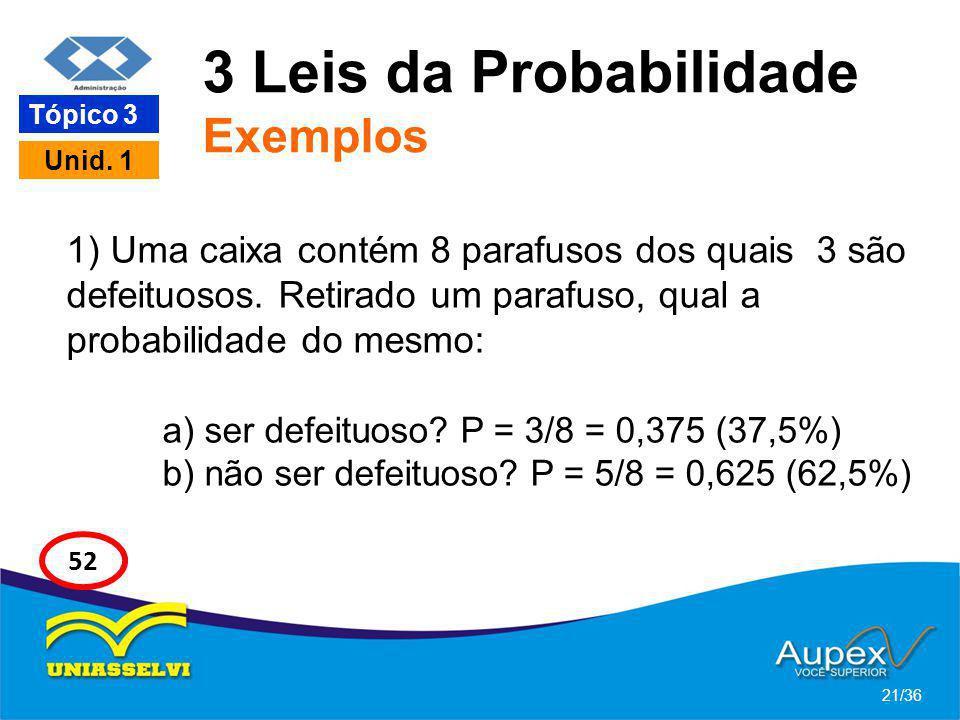 3 Leis da Probabilidade Exemplos