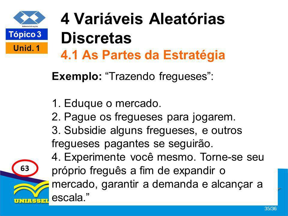 4 Variáveis Aleatórias Discretas 4.1 As Partes da Estratégia