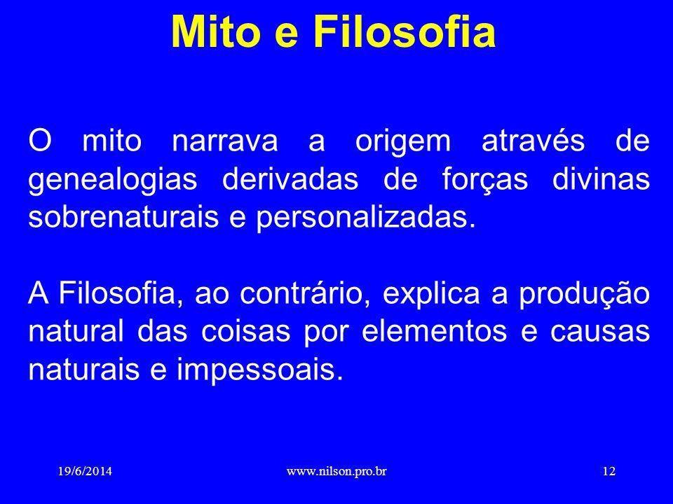 Mito e Filosofia O mito narrava a origem através de genealogias derivadas de forças divinas sobrenaturais e personalizadas.