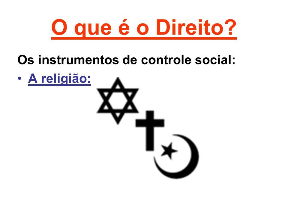 O que é o Direito Os instrumentos de controle social: A religião: