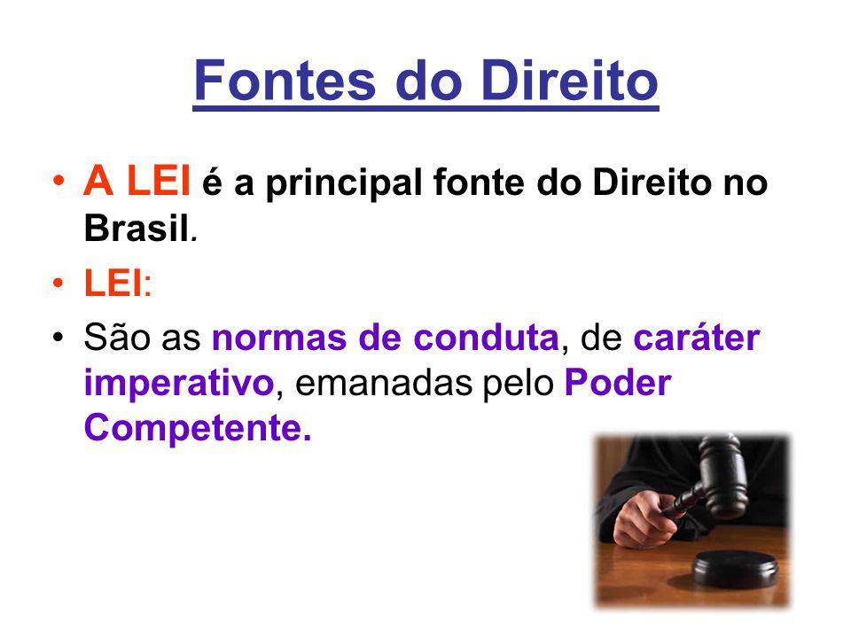 Fontes do Direito A LEI é a principal fonte do Direito no Brasil. LEI: